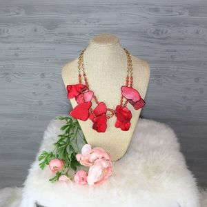 Beautiful Double Strands Red Rock Necklace